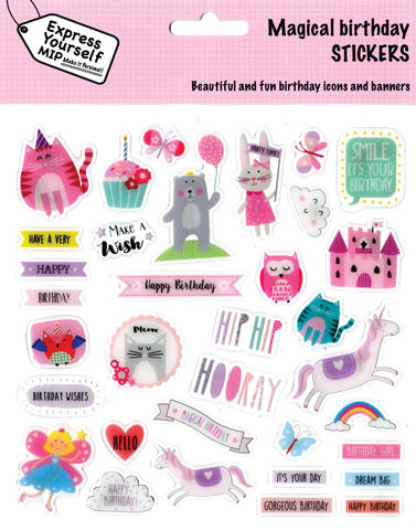Stickers,-,Juvenile,Girl,(Magical,Birthday),Craft, DIY, MIP, Make It Personal, Personalised, Stickers, On Your Birthday, Stick On Decoration, Fun, Icons, Banners, Juvenile Fantasy, Girl, Pink, Animals, Cake, Magical