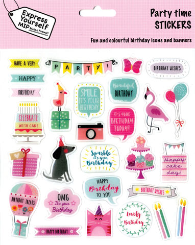 Stickers,-,Birthday,Girl,(Party,Time),Craft, DIY, MIP, Make It Personal, Personalised, Stickers, On Your Birthday, Stick On Decoration, Fun, Icons, Banners, Juvenile Fantasy, Girl, Pink, Animals, Cake, Magical, Party