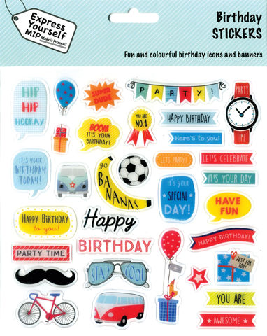 Stickers,-,Birthday,Boy,Craft, DIY, MIP, Make It Personal, Personalised, Stickers, On Your Birthday, Stick On Decoration, Fun, Icons, Banners, Juvenile Fantasy, Boy, Blue, Animals, Cake, Magical, Party