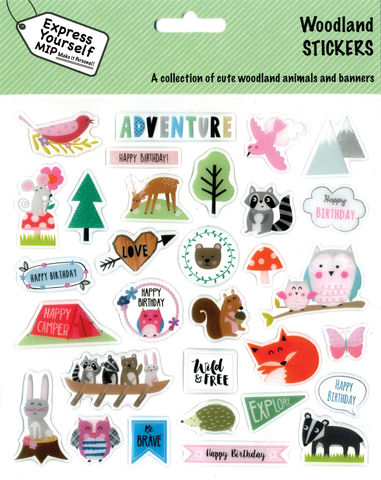 Stickers,-,Woodland,Animals,Craft, DIY, MIP, Make It Personal, Personalised, Stickers, On Your Birthday, Stick On Decoration, Fun, Icons, Banners, Magical, Party, Woodland, Animals