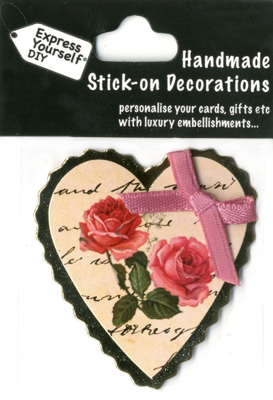 Handmade (Mini) stick on Parts - Heart With Ribbon & Roses - product images