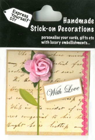Handmade,(Mini),stick,on,Parts,-,Rose,With,Love,(Tag),stick-on captions, craft, handmade, Rose, Pink, With Love Tag