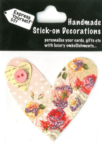 Handmade,(Mini),stick,on,Parts,-,Heart,&,Button,stick-on captions, craft, handmade, Button, Pink, Heart