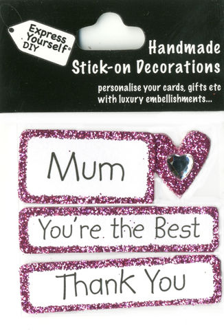 Handmade,(Mini),stick,on,Parts,-,Mum,Caption,Tags,&,Heart,stick-on captions, craft, handmade, Heart, Caption Tags, Mum, Thank You