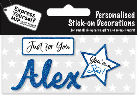 Sticker,-,Alex,Craft, DIY, MIP, Make It Personal, Card Making, Personalised, Flittered, Personalising Cards, Gifts, Notebooks, Albums, Files, Toy Boxes, Door Plaques, Party Bags, Balloons, You Name it, Sticker, Birthday, Words, Stick On Decoration, Blue, Star, Banner