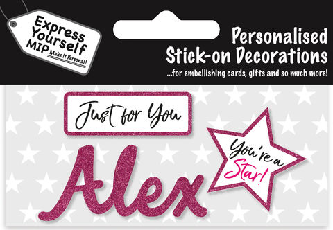 Sticker,-,Alex,Craft, DIY, MIP, Make It Personal, Card Making, Personalised, Flittered, Personalising Cards, Gifts, Notebooks, Albums, Files, Toy Boxes, Door Plaques, Party Bags, Balloons, You Name it, Sticker, Birthday, Words, Stick On Decoration, Pink, Star, Banner