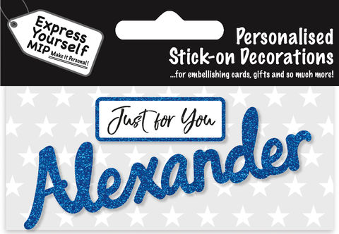 Sticker,-,Alexander,Craft, DIY, MIP, Make It Personal, Card Making, Personalised, Flittered, Personalising Cards, Gifts, Notebooks, Albums, Files, Toy Boxes, Door Plaques, Party Bags, Balloons, You Name it, Sticker, Birthday, Words, Stick On Decoration, Blue, Banner