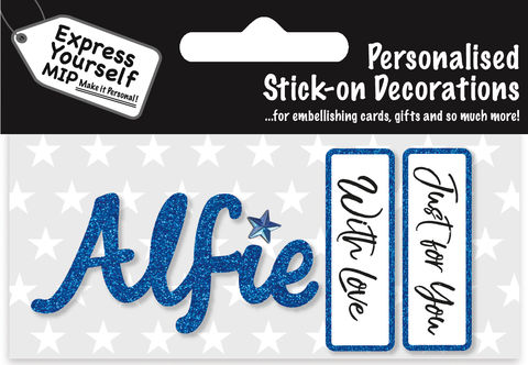 Sticker,-,Alfie,Craft, DIY, MIP, Make It Personal, Card Making, Personalised, Flittered, Personalising Cards, Gifts, Notebooks, Albums, Files, Toy Boxes, Door Plaques, Party Bags, Balloons, You Name it, Sticker, Birthday, Words, Stick On Decoration, Blue, Banner
