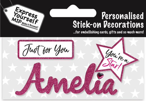 Sticker,-,Amelia,Craft, DIY, MIP, Make It Personal, Card Making, Personalised, Flittered, Personalising Cards, Gifts, Notebooks, Albums, Files, Toy Boxes, Door Plaques, Party Bags, Balloons, You Name it, Sticker, Birthday, Words, Stick On Decoration, Pink, Star, Banner