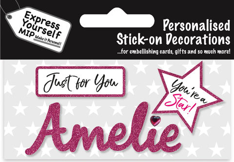 Sticker,-,Amelie,Craft, DIY, MIP, Make It Personal, Card Making, Personalised, Flittered, Personalising Cards, Gifts, Notebooks, Albums, Files, Toy Boxes, Door Plaques, Party Bags, Balloons, You Name it, Sticker, Birthday, Words, Stick On Decoration, Pink, Star, Banner