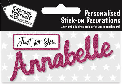Sticker,-,Annabelle,Craft, DIY, MIP, Make It Personal, Card Making, Personalised, Flittered, Personalising Cards, Gifts, Notebooks, Albums, Files, Toy Boxes, Door Plaques, Party Bags, Balloons, You Name it, Sticker, Birthday, Words, Stick On Decoration, Pink, Banner