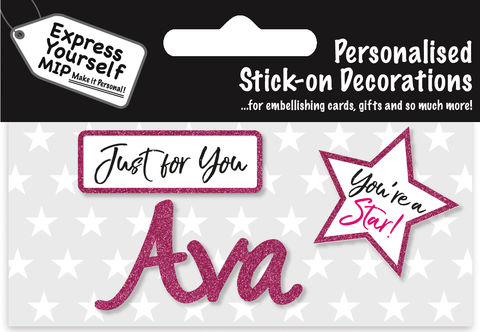 Sticker,-,Ava,Craft, DIY, MIP, Make It Personal, Card Making, Personalised, Flittered, Personalising Cards, Gifts, Notebooks, Albums, Files, Toy Boxes, Door Plaques, Party Bags, Balloons, You Name it, Sticker, Birthday, Words, Stick On Decoration, Pink, Star, Banner