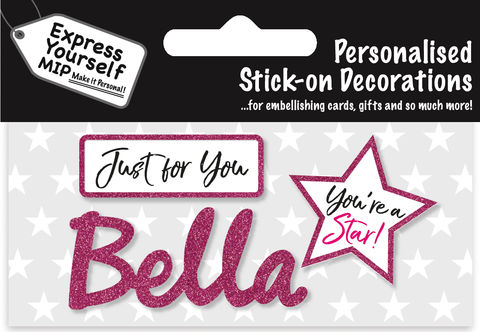 Sticker,-,Bella,Craft, DIY, MIP, Make It Personal, Card Making, Personalised, Flittered, Personalising Cards, Gifts, Notebooks, Albums, Files, Toy Boxes, Door Plaques, Party Bags, Balloons, You Name it, Sticker, Birthday, Words, Stick On Decoration, Pink, Star, Banner