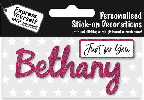 Sticker,-,Bethany,Craft, DIY, MIP, Make It Personal, Card Making, Personalised, Flittered, Personalising Cards, Gifts, Notebooks, Albums, Files, Toy Boxes, Door Plaques, Party Bags, Balloons, You Name it, Sticker, Birthday, Words, Stick On Decoration, Pink, Banner