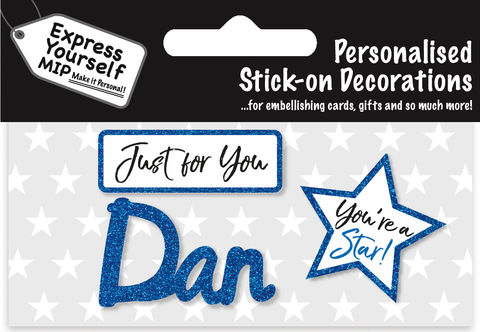 Sticker,-,Dan,Craft, DIY, MIP, Make It Personal, Card Making, Personalised, Flittered, Personalising Cards, Gifts, Notebooks, Albums, Files, Toy Boxes, Door Plaques, Party Bags, Balloons, You Name it, Sticker, Birthday, Words, Stick On Decoration, Blue, Star, Banner