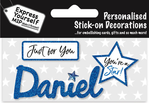 Sticker,-,Daniel,Craft, DIY, MIP, Make It Personal, Card Making, Personalised, Flittered, Personalising Cards, Gifts, Notebooks, Albums, Files, Toy Boxes, Door Plaques, Party Bags, Balloons, You Name it, Sticker, Birthday, Words, Stick On Decoration, Blue, Star, Banner