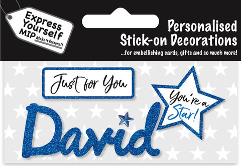 Sticker,-,David,Craft, DIY, MIP, Make It Personal, Card Making, Personalised, Flittered, Personalising Cards, Gifts, Notebooks, Albums, Files, Toy Boxes, Door Plaques, Party Bags, Balloons, You Name it, Sticker, Birthday, Words, Stick On Decoration, Blue, Star, Banner