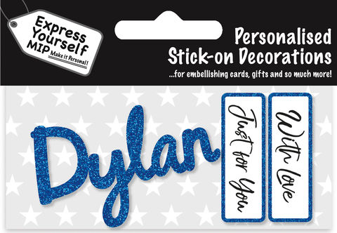 Sticker,-,Dylan,Craft, DIY, MIP, Make It Personal, Card Making, Personalised, Flittered, Personalising Cards, Gifts, Notebooks, Albums, Files, Toy Boxes, Door Plaques, Party Bags, Balloons, You Name it, Sticker, Birthday, Words, Stick On Decoration, Blue, Banner
