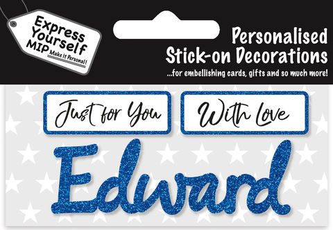 Sticker,-,Edward,Craft, DIY, MIP, Make It Personal, Card Making, Personalised, Flittered, Personalising Cards, Gifts, Notebooks, Albums, Files, Toy Boxes, Door Plaques, Party Bags, Balloons, You Name it, Sticker, Birthday, Words, Stick On Decoration, Blue, Banner