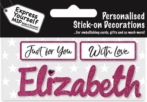 Sticker,-,Elizabeth,Craft, DIY, MIP, Make It Personal, Card Making, Personalised, Flittered, Personalising Cards, Gifts, Notebooks, Albums, Files, Toy Boxes, Door Plaques, Party Bags, Balloons, You Name it, Sticker, Birthday, Words, Stick On Decoration, Pink, Banner