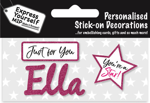 Sticker,-,Ella,Craft, DIY, MIP, Make It Personal, Card Making, Personalised, Flittered, Personalising Cards, Gifts, Notebooks, Albums, Files, Toy Boxes, Door Plaques, Party Bags, Balloons, You Name it, Sticker, Birthday, Words, Stick On Decoration, Pink, Star, Banner