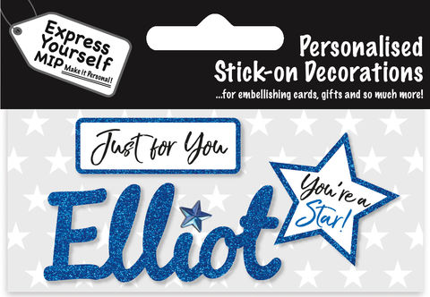 Sticker,-,Elliot,Craft, DIY, MIP, Make It Personal, Card Making, Personalised, Flittered, Personalising Cards, Gifts, Notebooks, Albums, Files, Toy Boxes, Door Plaques, Party Bags, Balloons, You Name it, Sticker, Birthday, Words, Stick On Decoration, Blue, Star, Banner