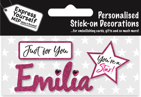 Sticker,-,Emilia,Craft, DIY, MIP, Make It Personal, Card Making, Personalised, Flittered, Personalising Cards, Gifts, Notebooks, Albums, Files, Toy Boxes, Door Plaques, Party Bags, Balloons, You Name it, Sticker, Birthday, Words, Stick On Decoration, Pink, Star, Banner
