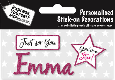 Sticker,-,Emma,Craft, DIY, MIP, Make It Personal, Card Making, Personalised, Flittered, Personalising Cards, Gifts, Notebooks, Albums, Files, Toy Boxes, Door Plaques, Party Bags, Balloons, You Name it, Sticker, Birthday, Words, Stick On Decoration, Pink, Star, Banner