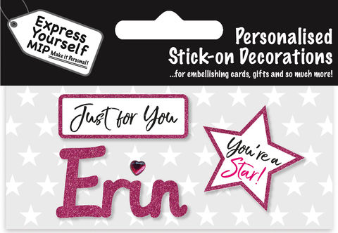 Sticker,-,Erin,Craft, DIY, MIP, Make It Personal, Card Making, Personalised, Flittered, Personalising Cards, Gifts, Notebooks, Albums, Files, Toy Boxes, Door Plaques, Party Bags, Balloons, You Name it, Sticker, Birthday, Words, Stick On Decoration, Pink, Star, Banner