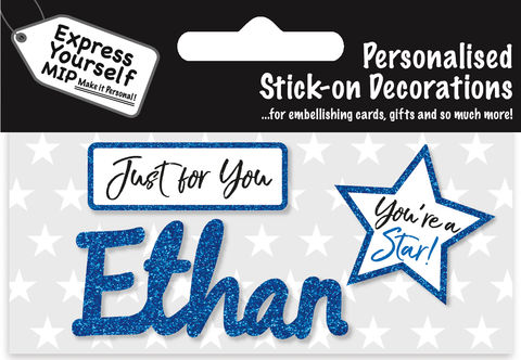 Sticker,-,Ethan,Craft, DIY, MIP, Make It Personal, Card Making, Personalised, Flittered, Personalising Cards, Gifts, Notebooks, Albums, Files, Toy Boxes, Door Plaques, Party Bags, Balloons, You Name it, Sticker, Birthday, Words, Stick On Decoration, Blue, Star, Banner
