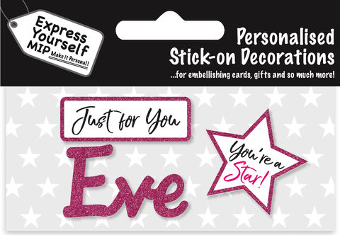 Sticker,-,Eve,Craft, DIY, MIP, Make It Personal, Card Making, Personalised, Flittered, Personalising Cards, Gifts, Notebooks, Albums, Files, Toy Boxes, Door Plaques, Party Bags, Balloons, You Name it, Sticker, Birthday, Words, Stick On Decoration, Pink, Star, Banner