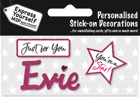 Sticker,-,Evie,Craft, DIY, MIP, Make It Personal, Card Making, Personalised, Flittered, Personalising Cards, Gifts, Notebooks, Albums, Files, Toy Boxes, Door Plaques, Party Bags, Balloons, You Name it, Sticker, Birthday, Words, Stick On Decoration, Pink, Star, Banner