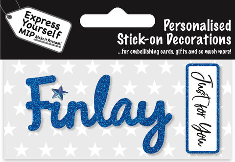 Sticker,-,Finlay,Craft, DIY, MIP, Make It Personal, Card Making, Personalised, Flittered, Personalising Cards, Gifts, Notebooks, Albums, Files, Toy Boxes, Door Plaques, Party Bags, Balloons, You Name it, Sticker, Birthday, Words, Stick On Decoration, Blue, Banner
