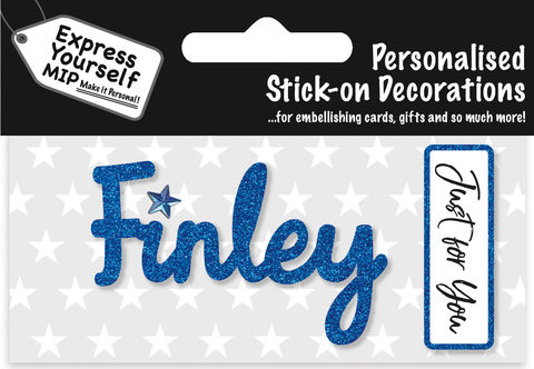 Sticker,-,Finley,Craft, DIY, MIP, Make It Personal, Card Making, Personalised, Flittered, Personalising Cards, Gifts, Notebooks, Albums, Files, Toy Boxes, Door Plaques, Party Bags, Balloons, You Name it, Sticker, Birthday, Words, Stick On Decoration, Blue, Banner