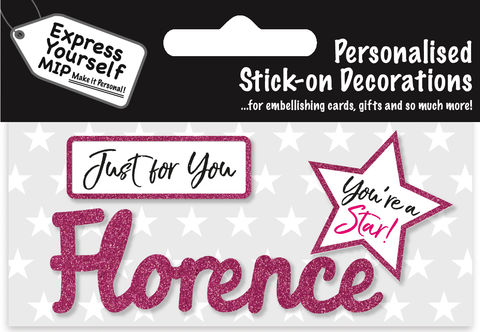 Sticker,-,Florence,Craft, DIY, MIP, Make It Personal, Card Making, Personalised, Flittered, Personalising Cards, Gifts, Notebooks, Albums, Files, Toy Boxes, Door Plaques, Party Bags, Balloons, You Name it, Sticker, Birthday, Words, Stick On Decoration, Pink, Star, Banner