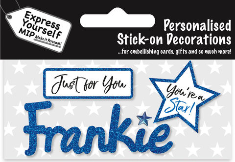 Sticker,-,Frankie,Craft, DIY, MIP, Make It Personal, Card Making, Personalised, Flittered, Personalising Cards, Gifts, Notebooks, Albums, Files, Toy Boxes, Door Plaques, Party Bags, Balloons, You Name it, Sticker, Birthday, Words, Stick On Decoration, Blue, Star, Banner