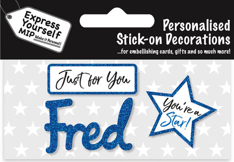 Sticker,-,Fred,Craft, DIY, MIP, Make It Personal, Card Making, Personalised, Flittered, Personalising Cards, Gifts, Notebooks, Albums, Files, Toy Boxes, Door Plaques, Party Bags, Balloons, You Name it, Sticker, Birthday, Words, Stick On Decoration, Blue, Star, Banner