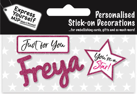 Sticker,-,Freya,Craft, DIY, MIP, Make It Personal, Card Making, Personalised, Flittered, Personalising Cards, Gifts, Notebooks, Albums, Files, Toy Boxes, Door Plaques, Party Bags, Balloons, You Name it, Sticker, Birthday, Words, Stick On Decoration, Pink, Star, Banner
