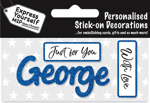 Sticker,-,George,Craft, DIY, MIP, Make It Personal, Card Making, Personalised, Flittered, Personalising Cards, Gifts, Notebooks, Albums, Files, Toy Boxes, Door Plaques, Party Bags, Balloons, You Name it, Sticker, Birthday, Words, Stick On Decoration, Blue, Banner