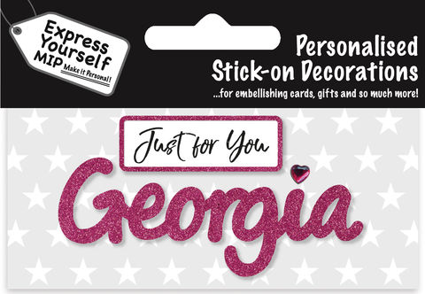 Sticker,-,Georgia,Craft, DIY, MIP, Make It Personal, Card Making, Personalised, Flittered, Personalising Cards, Gifts, Notebooks, Albums, Files, Toy Boxes, Door Plaques, Party Bags, Balloons, You Name it, Sticker, Birthday, Words, Stick On Decoration, Pink, Banner