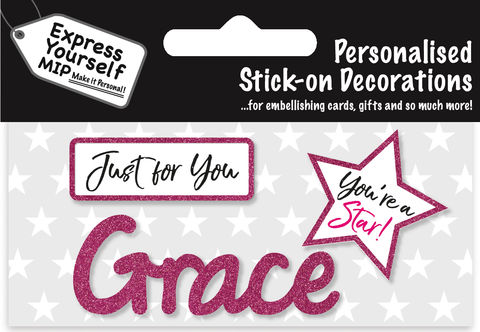 Sticker,-,Grace,Craft, DIY, MIP, Make It Personal, Card Making, Personalised, Flittered, Personalising Cards, Gifts, Notebooks, Albums, Files, Toy Boxes, Door Plaques, Party Bags, Balloons, You Name it, Sticker, Birthday, Words, Stick On Decoration, Pink, Star, Banner
