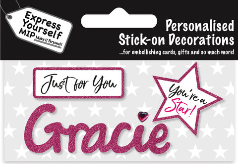 Sticker,-,Gracie,Craft, DIY, MIP, Make It Personal, Card Making, Personalised, Flittered, Personalising Cards, Gifts, Notebooks, Albums, Files, Toy Boxes, Door Plaques, Party Bags, Balloons, You Name it, Sticker, Birthday, Words, Stick On Decoration, Pink, Star, Banner