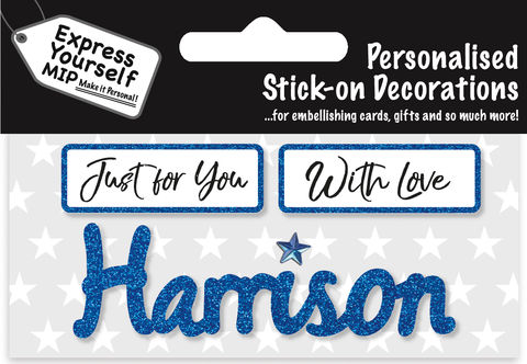 Sticker,-,Harrison,Craft, DIY, MIP, Make It Personal, Card Making, Personalised, Flittered, Personalising Cards, Gifts, Notebooks, Albums, Files, Toy Boxes, Door Plaques, Party Bags, Balloons, You Name it, Sticker, Birthday, Words, Stick On Decoration, Blue, Banner