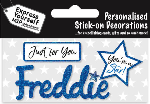 Sticker,-,Freddie,Craft, DIY, MIP, Make It Personal, Card Making, Personalised, Flittered, Personalising Cards, Gifts, Notebooks, Albums, Files, Toy Boxes, Door Plaques, Party Bags, Balloons, You Name it, Sticker, Birthday, Words, Stick On Decoration, Blue, Star, Banner