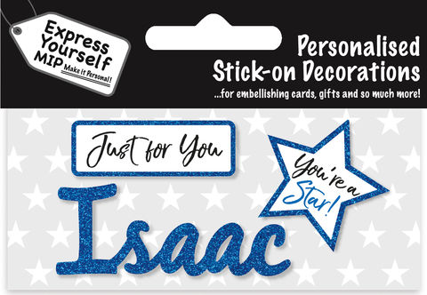 Sticker,-,Isaac,Craft, DIY, MIP, Make It Personal, Card Making, Personalised, Flittered, Personalising Cards, Gifts, Notebooks, Albums, Files, Toy Boxes, Door Plaques, Party Bags, Balloons, You Name it, Sticker, Birthday, Words, Stick On Decoration, Blue, Star, Banner