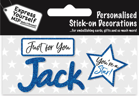 Sticker,-,Jack,Craft, DIY, MIP, Make It Personal, Card Making, Personalised, Flittered, Personalising Cards, Gifts, Notebooks, Albums, Files, Toy Boxes, Door Plaques, Party Bags, Balloons, You Name it, Sticker, Birthday, Words, Stick On Decoration, Blue, Star, Banner