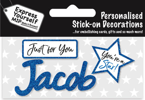 Sticker,-,Jacob,Craft, DIY, MIP, Make It Personal, Card Making, Personalised, Flittered, Personalising Cards, Gifts, Notebooks, Albums, Files, Toy Boxes, Door Plaques, Party Bags, Balloons, You Name it, Sticker, Birthday, Words, Stick On Decoration, Blue, Star, Banner