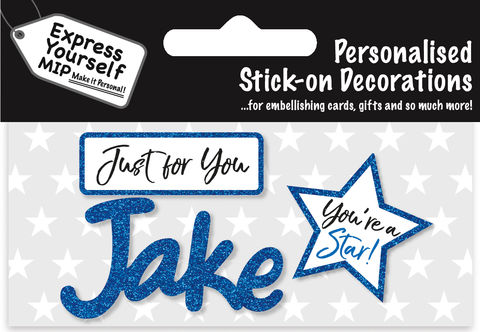 Sticker,-,Jake,Craft, DIY, MIP, Make It Personal, Card Making, Personalised, Flittered, Personalising Cards, Gifts, Notebooks, Albums, Files, Toy Boxes, Door Plaques, Party Bags, Balloons, You Name it, Sticker, Birthday, Words, Stick On Decoration, Blue, Star, Banner