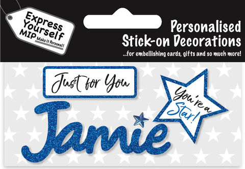 Sticker,-,Jamie,Craft, DIY, MIP, Make It Personal, Card Making, Personalised, Flittered, Personalising Cards, Gifts, Notebooks, Albums, Files, Toy Boxes, Door Plaques, Party Bags, Balloons, You Name it, Sticker, Birthday, Words, Stick On Decoration, Blue, Star, Banner