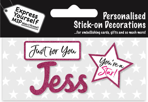 Sticker,-,Jess,Craft, DIY, MIP, Make It Personal, Card Making, Personalised, Flittered, Personalising Cards, Gifts, Notebooks, Albums, Files, Toy Boxes, Door Plaques, Party Bags, Balloons, You Name it, Sticker, Birthday, Words, Stick On Decoration, Pink, Star, Banner